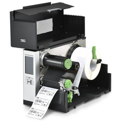 TSC MH240T printer inside with ink and label rolls